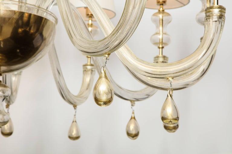 Modernist Italian Murano Gold Glass Chandelier in the Manner of Seguso 4
