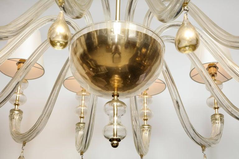Modernist Italian Murano Gold Glass Chandelier in the Manner of Seguso 5