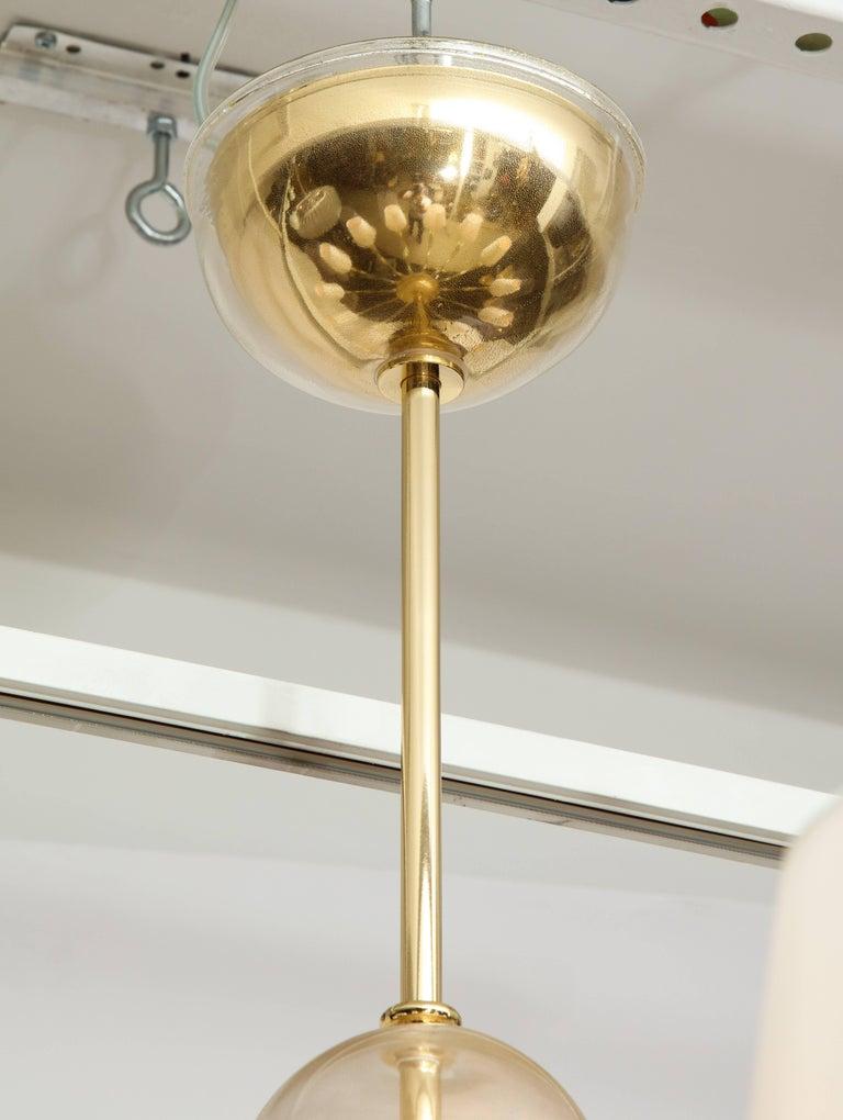 Modernist Italian Murano Gold Glass Chandelier in the Manner of Seguso 8