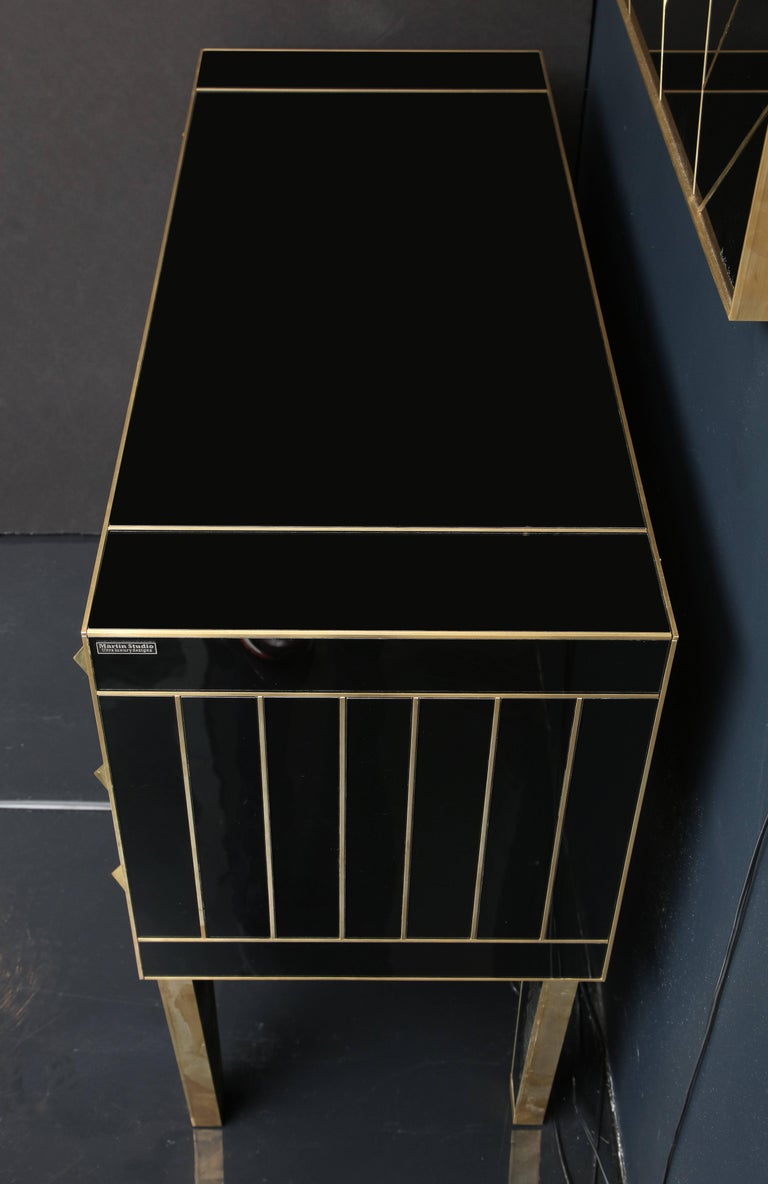 One of a Kind Signed Pair of Black Glass and Brass Commodes or Nightstands 6
