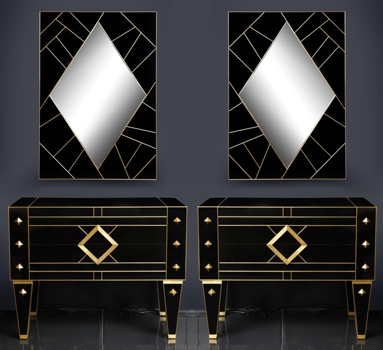 One of a Kind Signed Pair of Black Glass and Brass Commodes or Nightstands 8