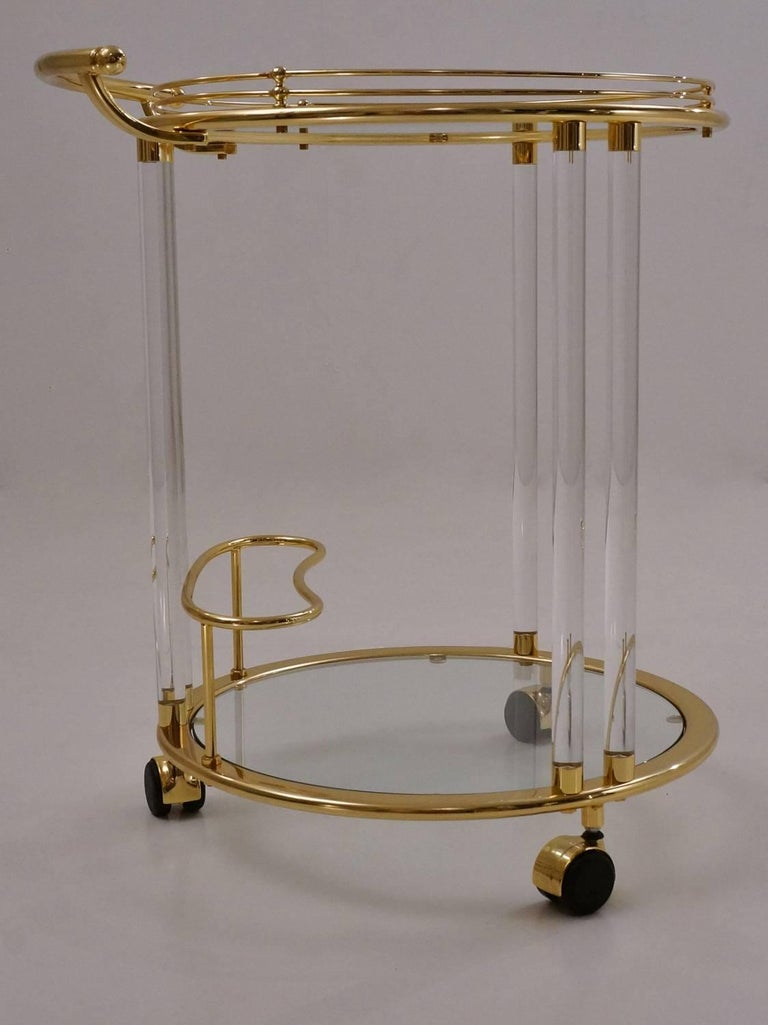 Neoclassical Italian Lucite and Brass Bar Cart or Trolley by Orsenigo For Sale