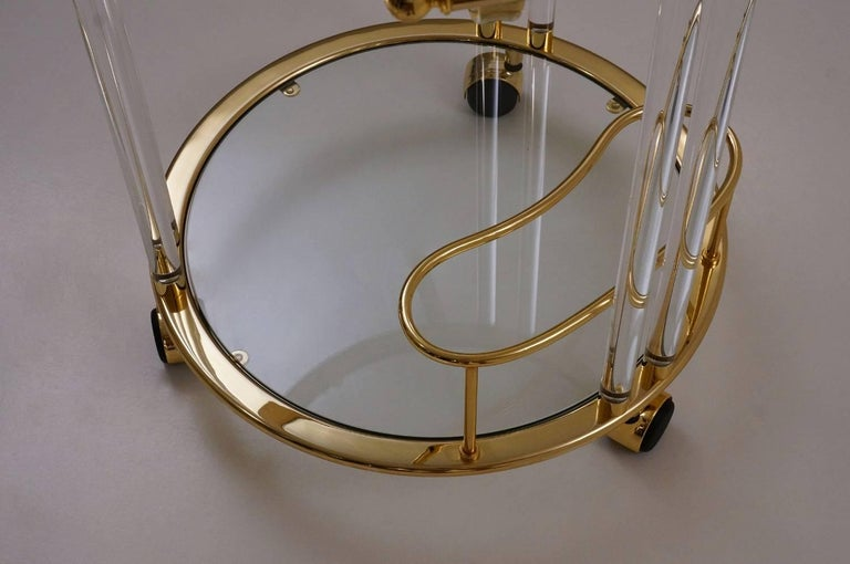 Italian Lucite and Brass Bar Cart or Trolley by Orsenigo In Excellent Condition For Sale In New York, NY