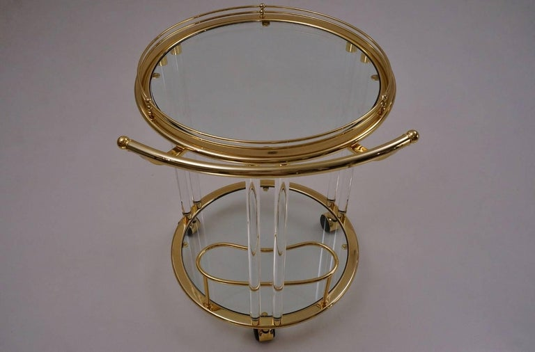 20th Century Italian Lucite and Brass Bar Cart or Trolley by Orsenigo For Sale