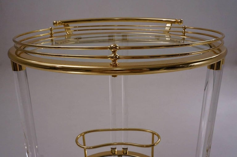Italian Lucite and Brass Bar Cart or Trolley by Orsenigo For Sale 1