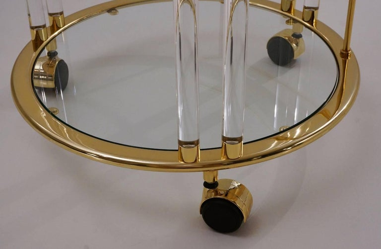 Italian Lucite and Brass Bar Cart or Trolley by Orsenigo 7