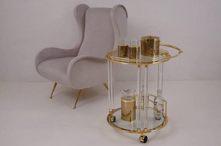 Italian Lucite and Brass Bar Cart or Trolley by Orsenigo For Sale 3