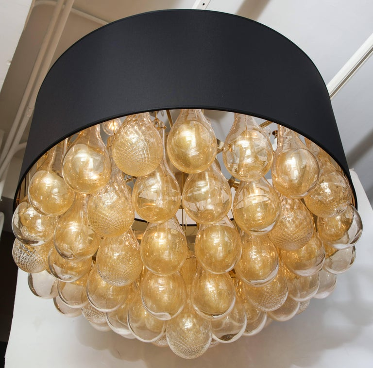 Unique Large Italian Murano Glass Gold Drops and Black Shade Chandelier 4