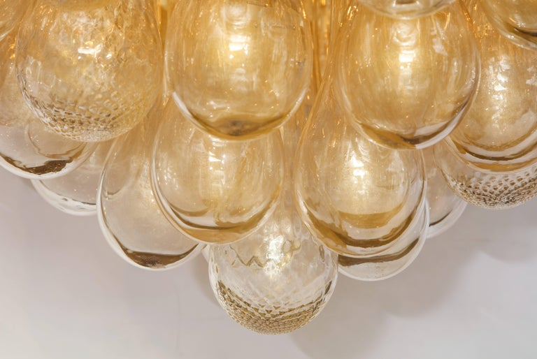 Unique Large Italian Murano Glass Gold Drops and Black Shade Chandelier 5