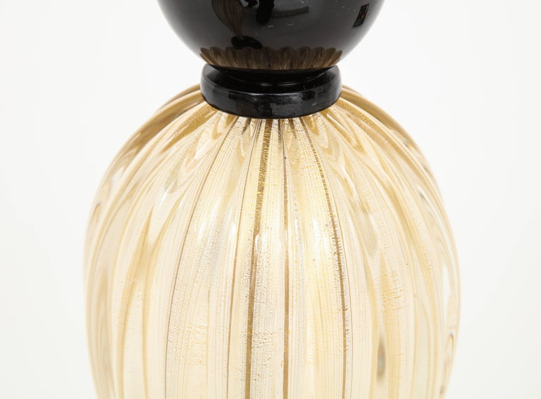 Pair of Tall Italian Gold and Black Murano Glass Lamps, Signed For Sale 1