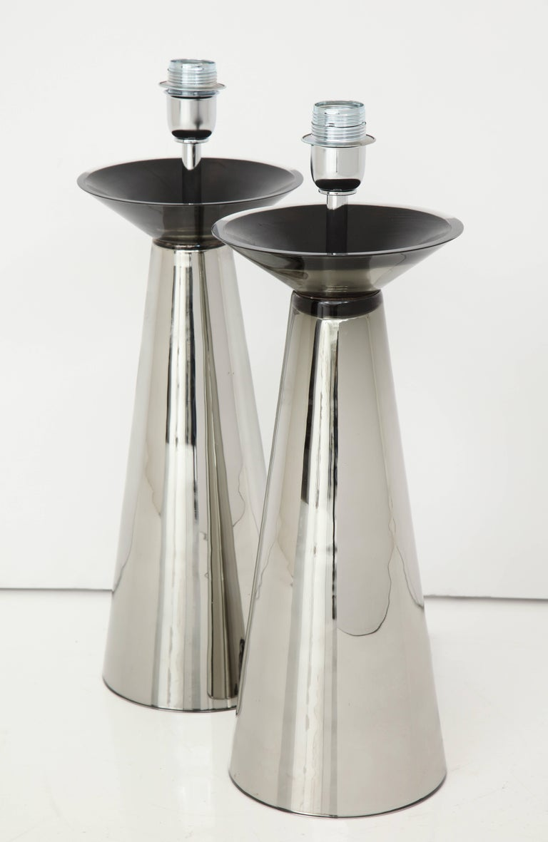 20th Century Rare Pair of Vintage Italian Silver Mercury Murano Glass Lamps, Signed For Sale