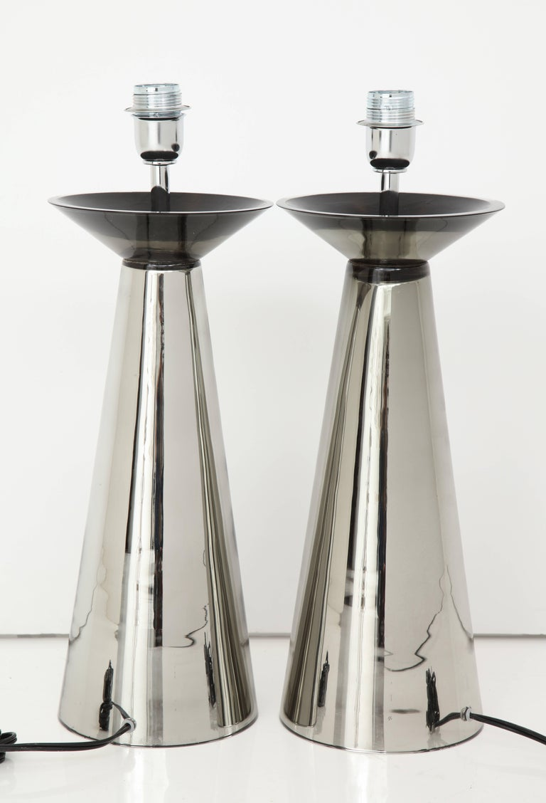 Rare Pair of Vintage Italian Silver Mercury Murano Glass Lamps, Signed For Sale 2