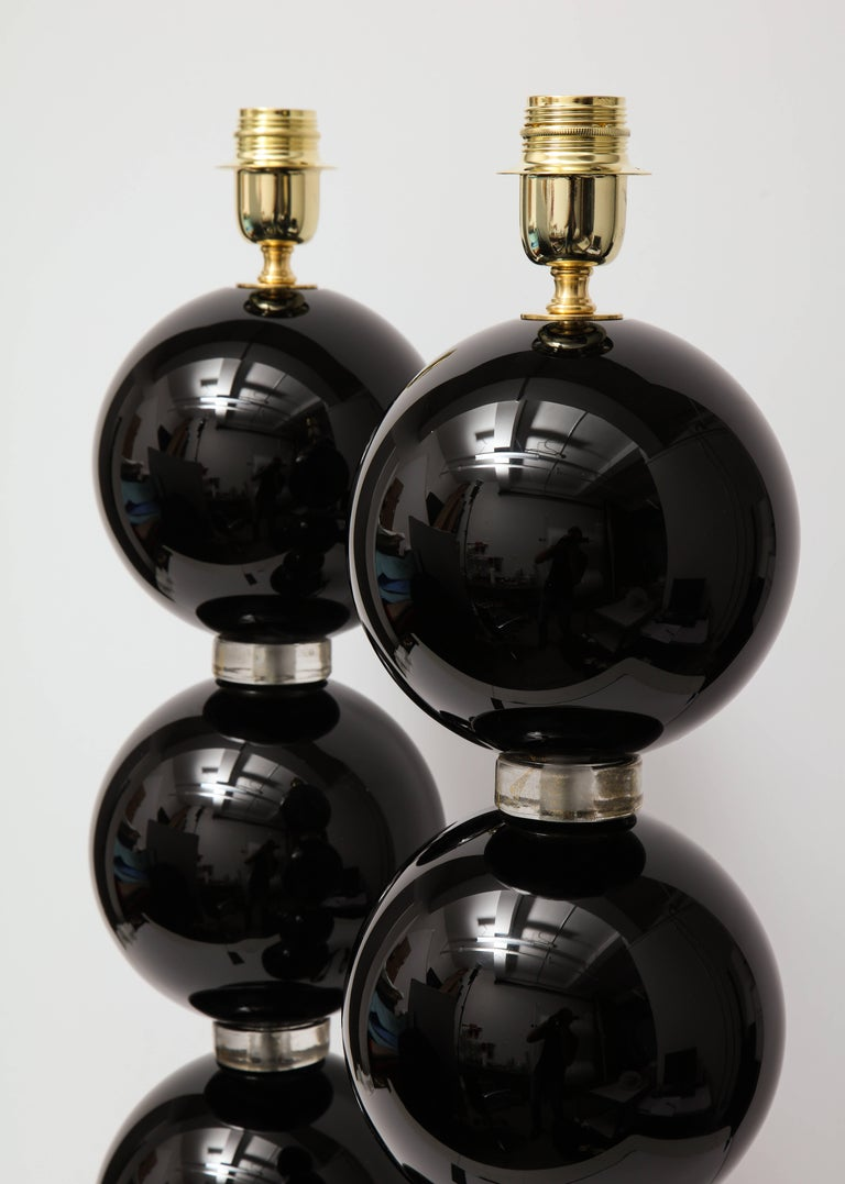 Pair of Large Italian Black with Gold Murano Glass Lamps, Signed In Excellent Condition For Sale In New York, NY