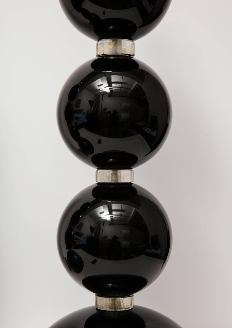 20th Century Pair of Large Italian Black with Gold Murano Glass Lamps, Signed For Sale