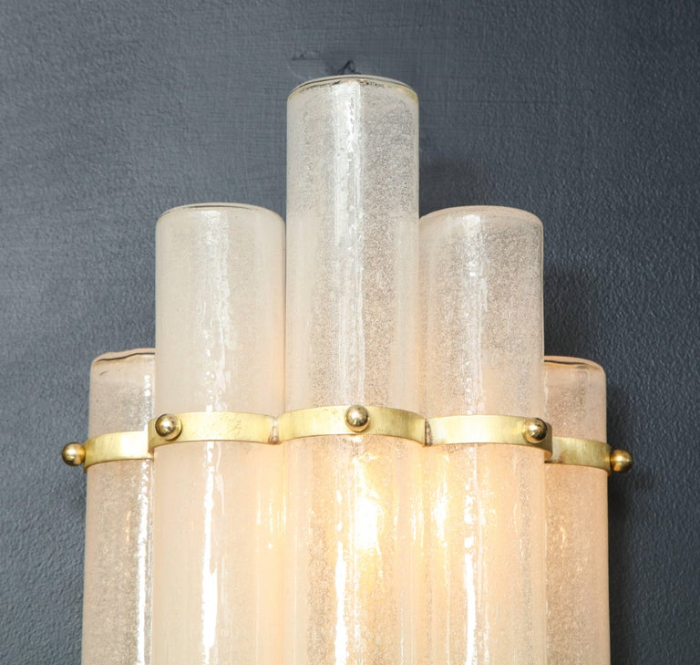 Art Deco Pair of White Murano Glass Tubes and Brass Sconces, Italy For Sale
