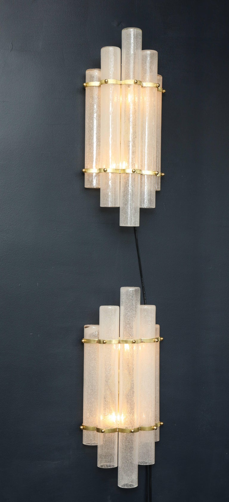 Italian Pair of White Murano Glass Tubes and Brass Sconces, Italy For Sale