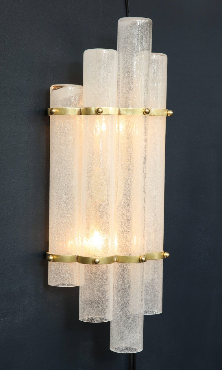Hand-Crafted Pair of White Murano Glass Tubes and Brass Sconces, Italy For Sale
