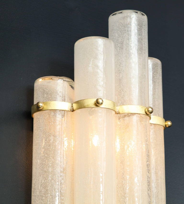 Pair of White Murano Glass Tubes and Brass Sconces, Italy In Excellent Condition For Sale In New York, NY