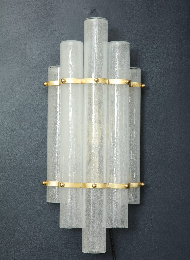 20th Century Pair of White Murano Glass Tubes and Brass Sconces, Italy For Sale
