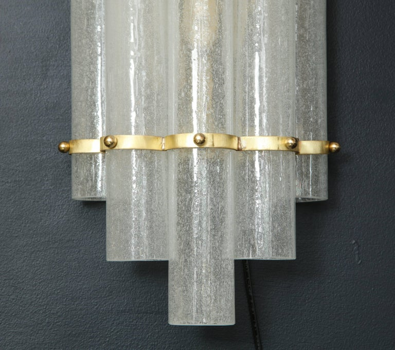 Pair of White Murano Glass Tubes and Brass Sconces, Italy For Sale 1