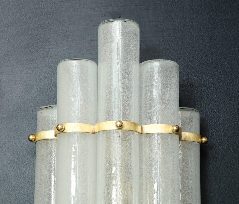 Pair of White Murano Glass Tubes and Brass Sconces, Italy For Sale 2