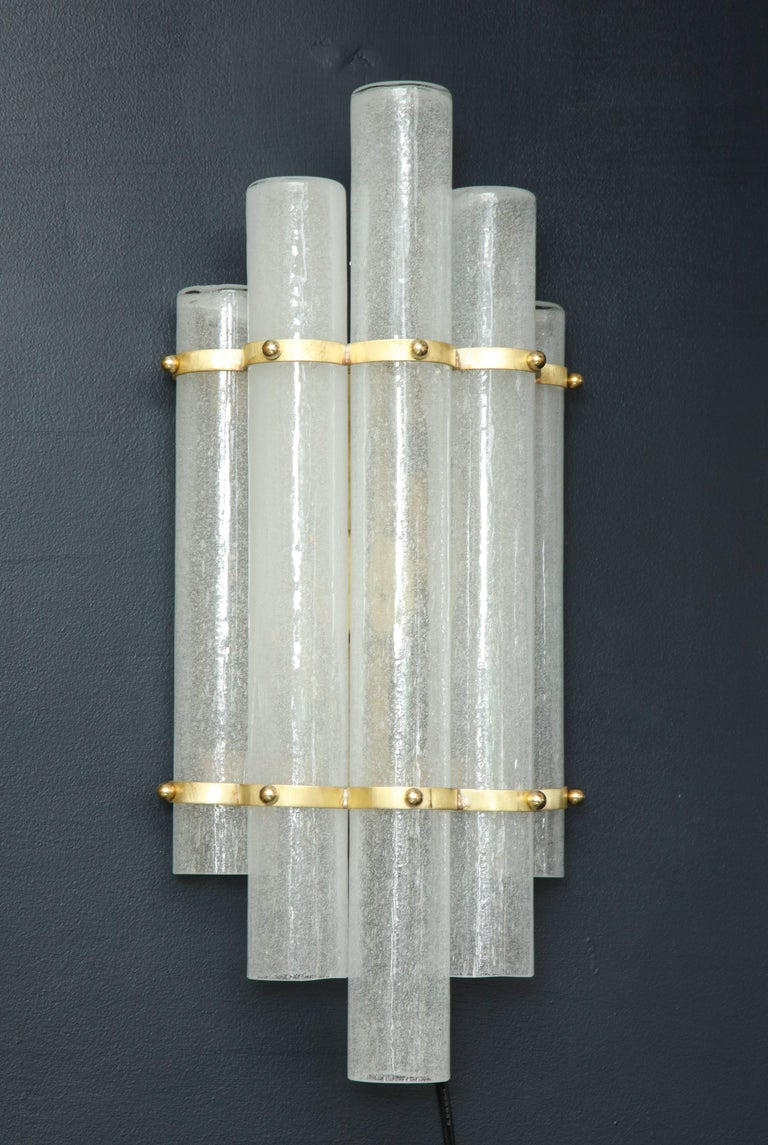 Pair of White Murano Glass Tubes and Brass Sconces, Italy For Sale 3