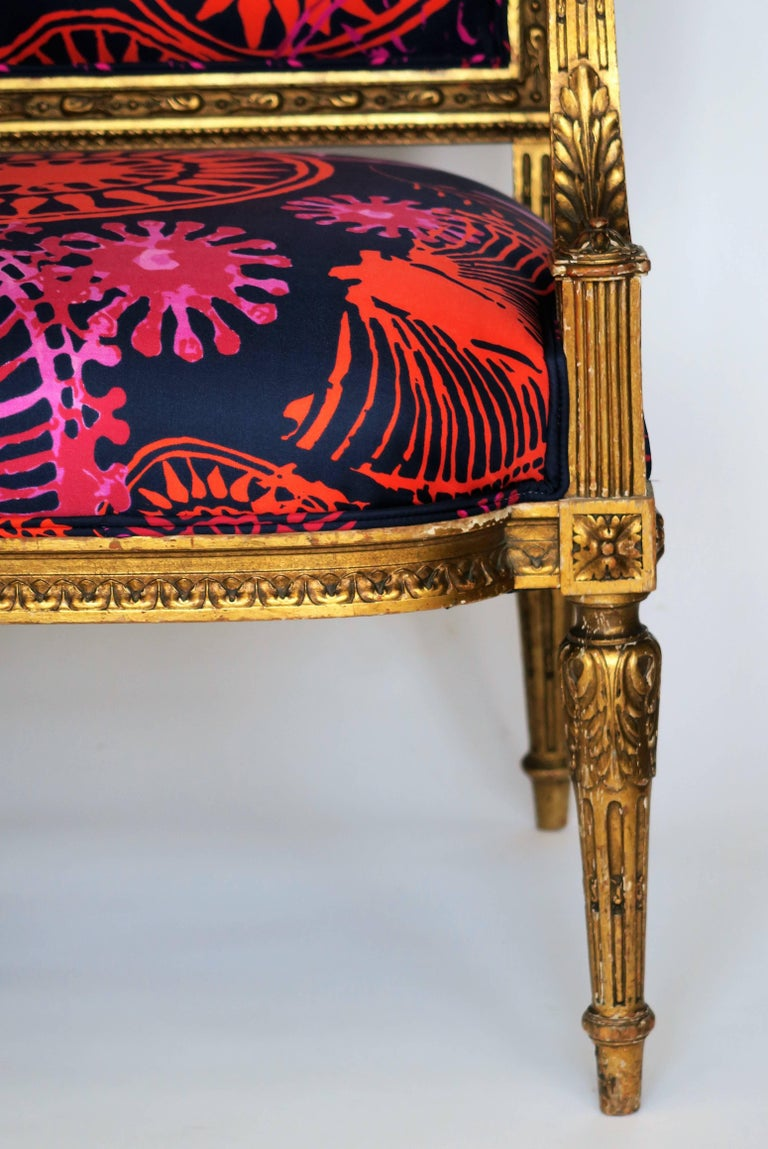 French Louis XVI Style Gilded Armchair in Hand-Painted Italian Silk Fabric For Sale