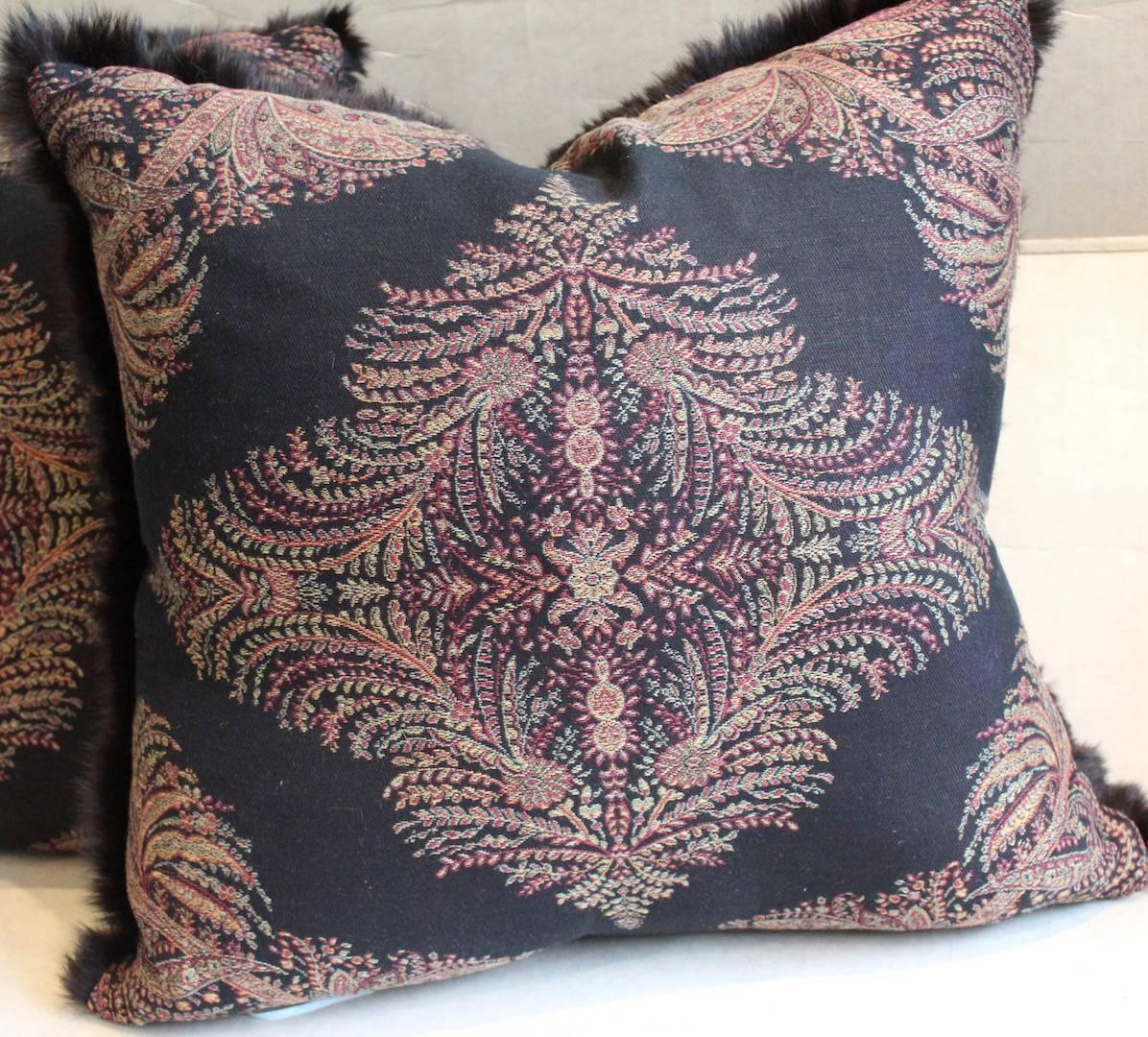 Throw Pillows Made from Ralph Lauren Wool Paisley and Real Rabbit Fur Trim at 1stdibs