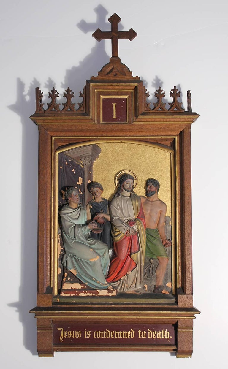 Set of Fourteen 19th Century Gothic Stations of the Cross Religious Paintings In Good Condition For Sale In San Diego, CA