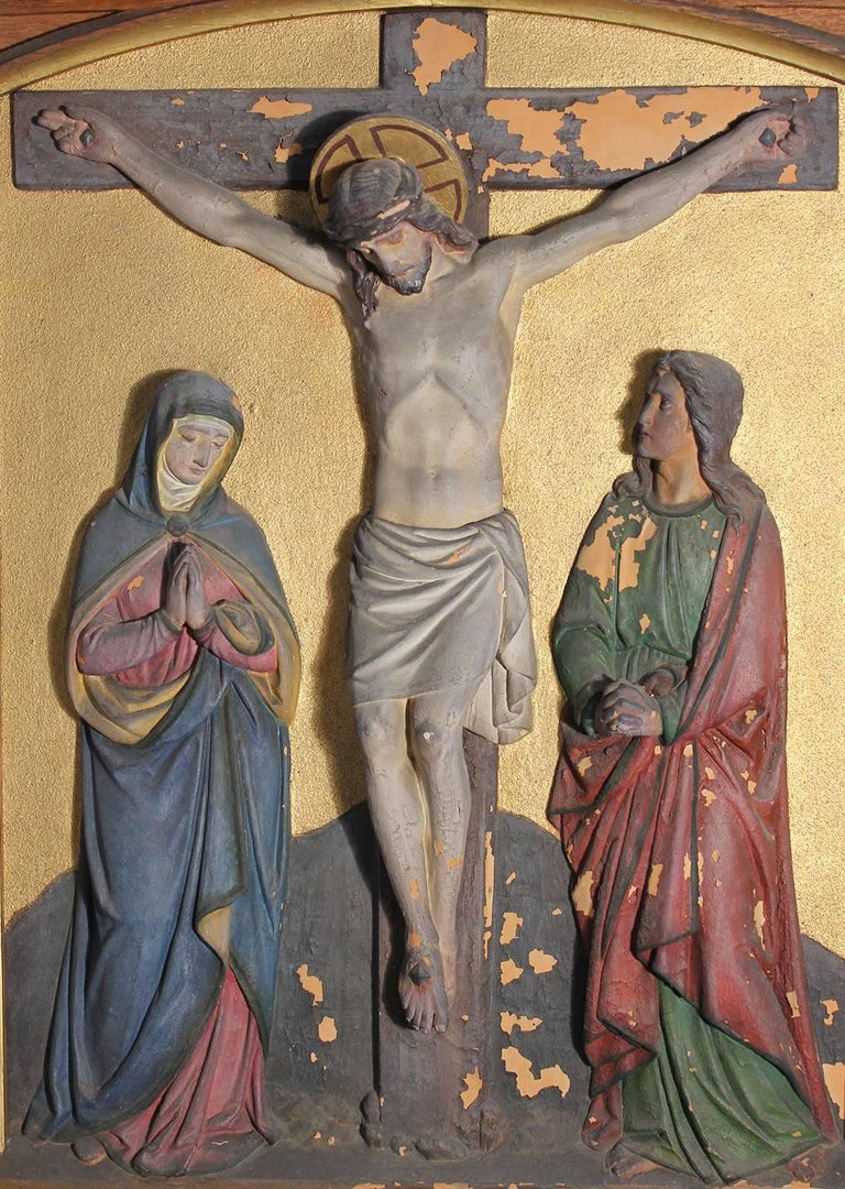 Set of Fourteen 19th Century Gothic Stations of the Cross Religious Paintings For Sale 2