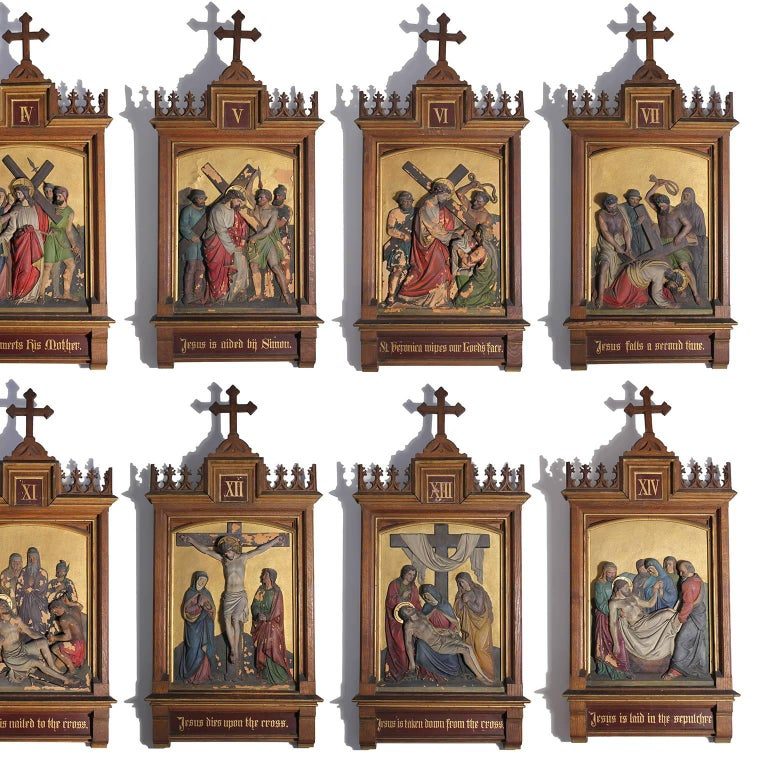 Gothic Revival Set of Fourteen 19th Century Gothic Stations of the Cross Religious Paintings For Sale