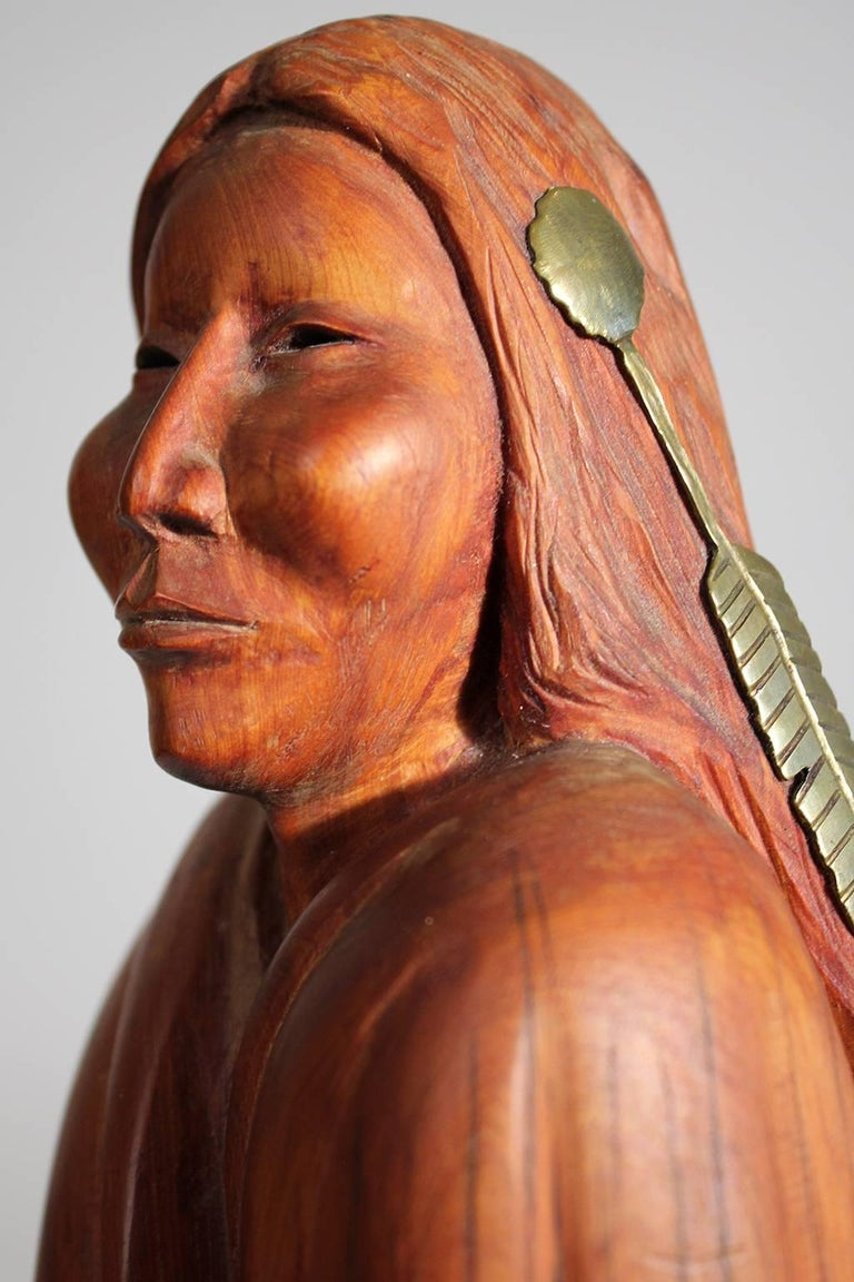 Troy Williams Carved Juniper Wood & Brass Sculpture of a Native American Woman In Excellent Condition For Sale In San Diego, CA