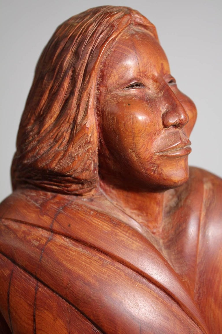 Troy Williams Carved Juniper Wood & Brass Sculpture of a Native American Woman For Sale 1