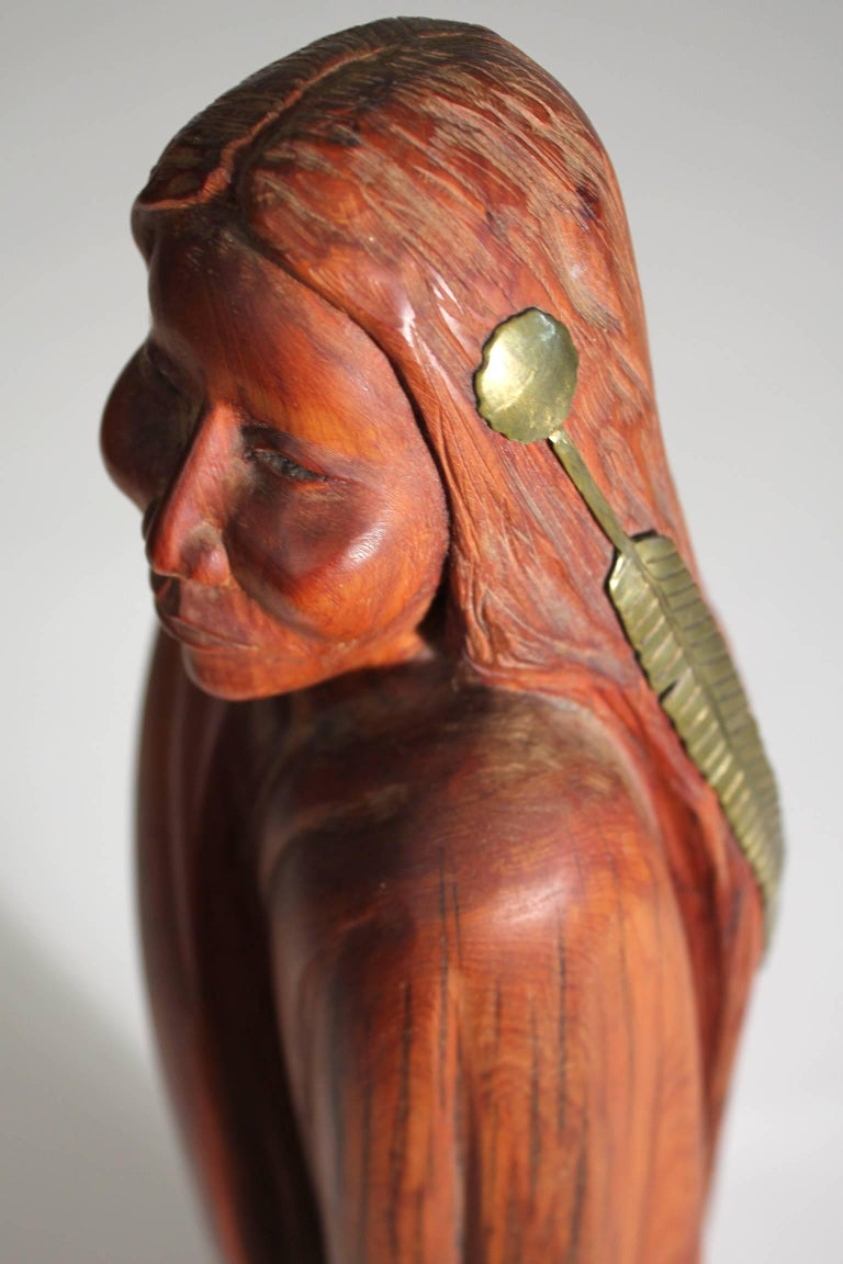 Troy Williams Carved Juniper Wood & Brass Sculpture of a Native American Woman For Sale 2