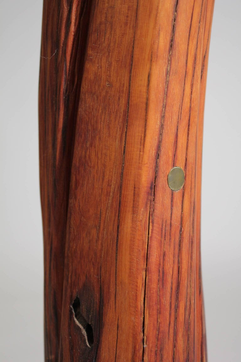 Troy Williams Carved Juniper Wood & Brass Sculpture of a Native American Woman For Sale 5