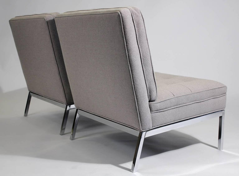 Pair of Florence Knoll Living Room Model 65 Chrome Lounge Chairs For Sale 1