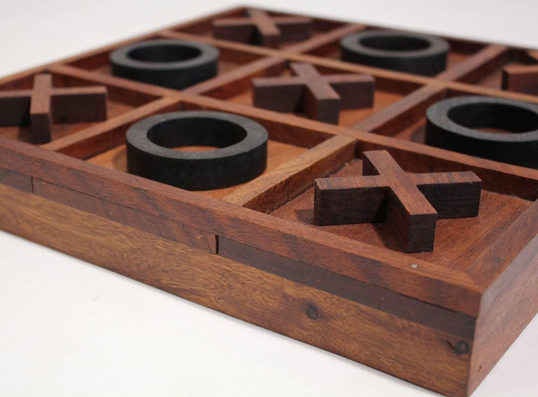 20th Century Modernist Craftsman Studio Tic Tac Toe Sculptural Carved Rosewood Wood Game For Sale