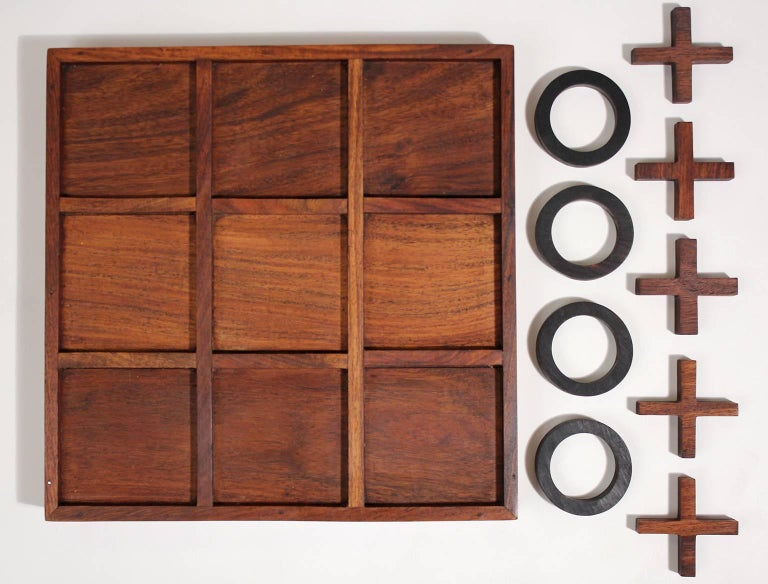 Modernist Craftsman Studio Tic Tac Toe Sculptural Carved Rosewood Wood Game For Sale 1