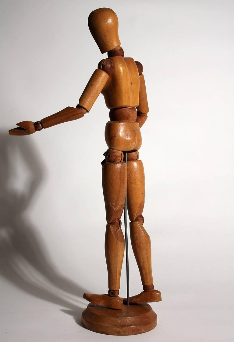 Antique Articulated Wood Nude Artist Figural Model Sculpture with Stand In Excellent Condition For Sale In San Diego, CA