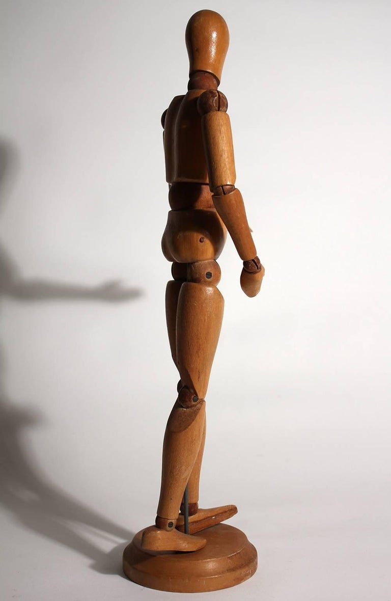 20th Century Antique Articulated Wood Nude Artist Figural Model Sculpture with Stand For Sale