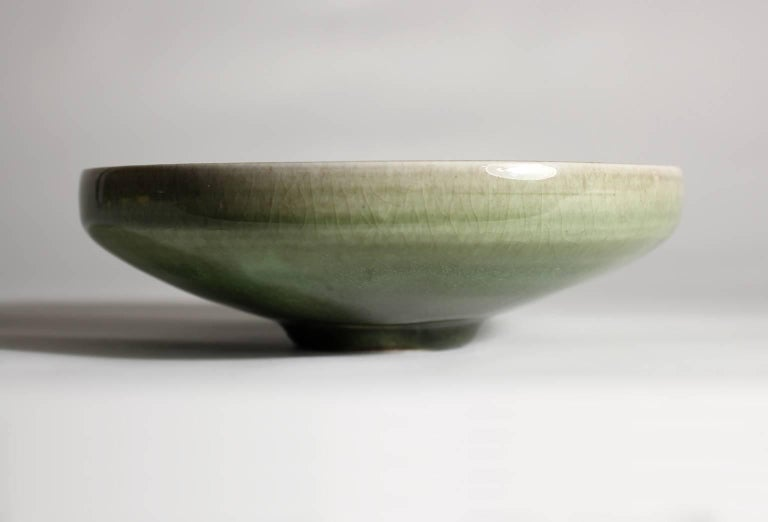 Late 20th Century Laura Andreson Green Celadon Porcelain Art Pottery Bowl For Sale