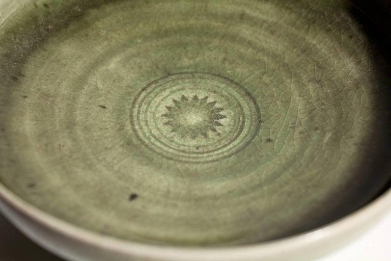 Laura Andreson Green Celadon Porcelain Art Pottery Bowl For Sale 3