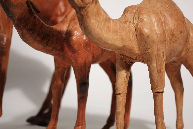 Antique Set of Three Italian Leather Camel Figurines Sculptures For Sale 6