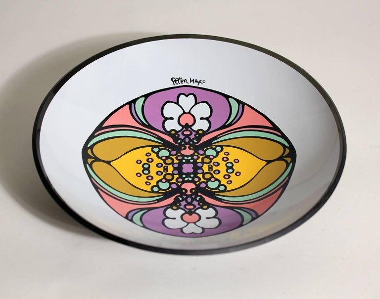 1960s Peter Max Psychedelic Pop Art Glass Bowl In Excellent Condition For Sale In San Diego, CA