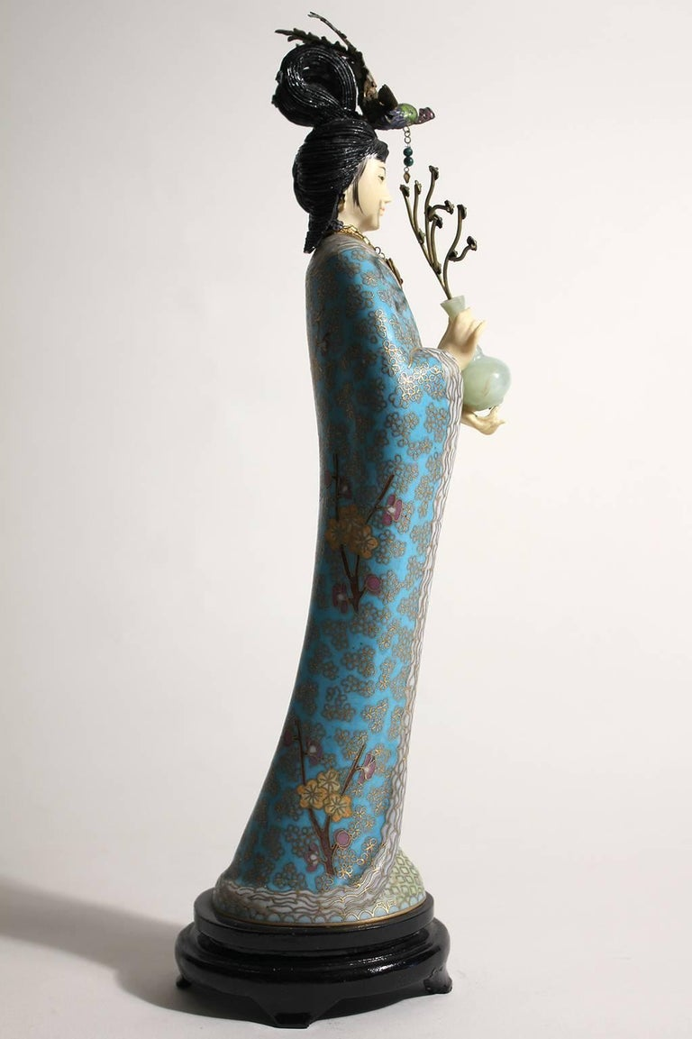 Early 20th Century Antique Chinese Cloisonné Enameled Carved Guanyin Quan Yin Sculpture Figurine For Sale