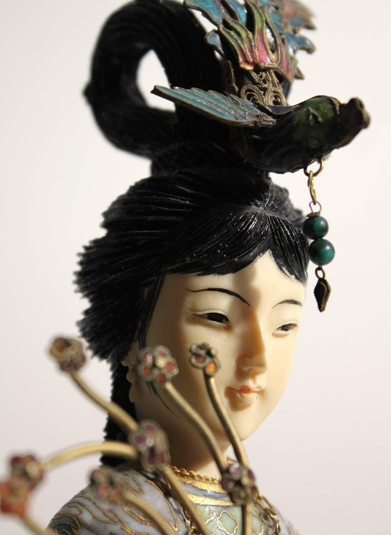 Antique Chinese Cloisonné Enameled Carved Guanyin Quan Yin Sculpture Figurine For Sale 5