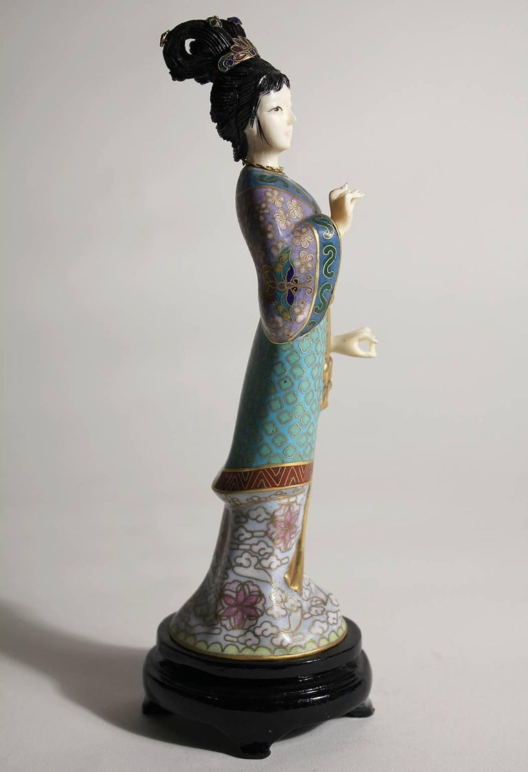 Early 20th Century Antique Chinese Cloisonne Enameled Carved Guanyin Quan Yin Sculpture Figurine For Sale