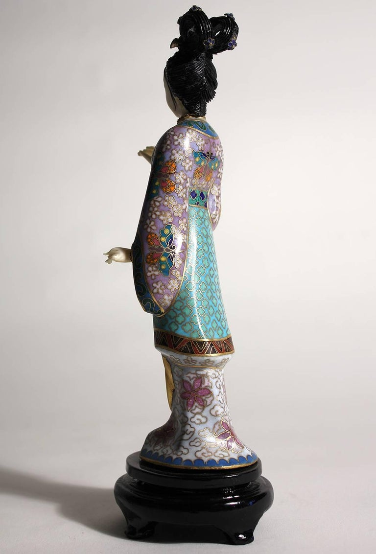20th Century Antique Chinese Cloisonne Enameled Carved Guanyin Quan Yin Sculpture Figurine For Sale