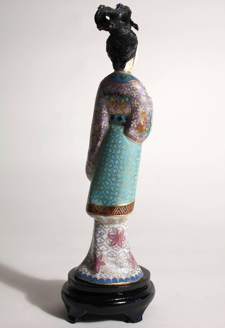 Antique Chinese Cloisonne Enameled Carved Guanyin Quan Yin Sculpture Figurine For Sale 1