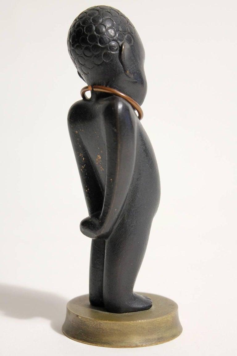 Art Deco Karl Hagenauer Vienna Austria Bronze African Child Figurine Sculpture In Excellent Condition For Sale In San Diego, CA
